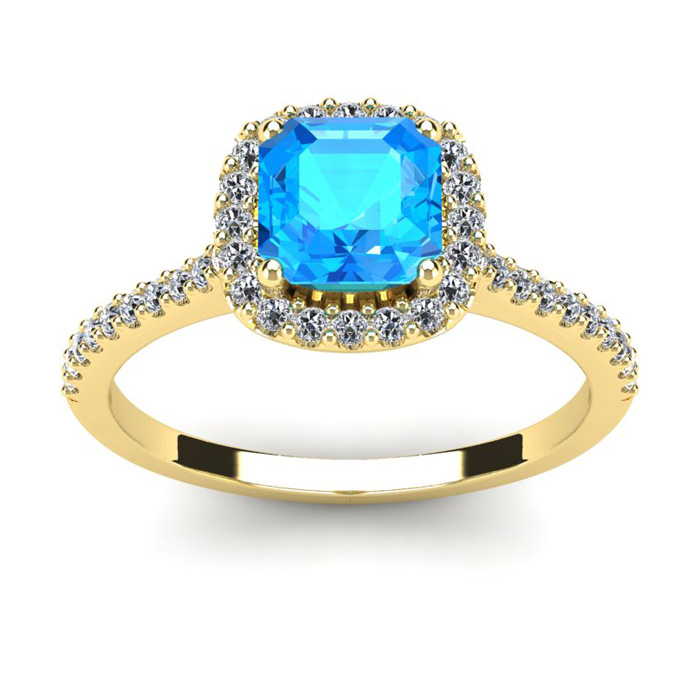 Image of 1 1/2 Carat Cushion Cut Blue Topaz and Halo Diamond Ring In 14K Yellow Gold