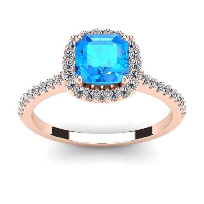 1.5 Carat Cushion Cut Blue Topaz & Halo Diamond Ring in 14K Rose