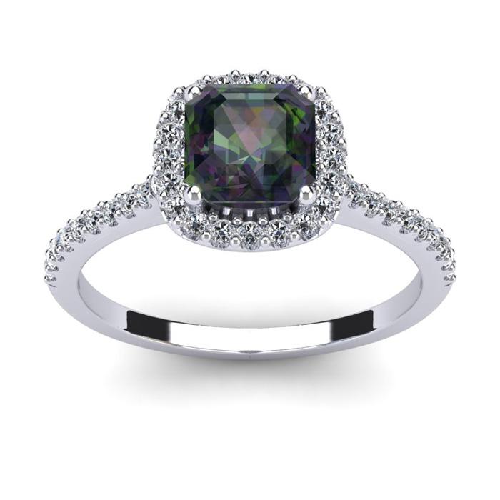1.5 Carat Cushion Cut Mystic Topaz & Halo Diamond Ring in 14K White Gold (3.6 g), I/J by SuperJeweler
