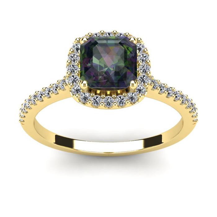 1.5 Carat Cushion Cut Mystic Topaz & Halo Diamond Ring in 14K Yel