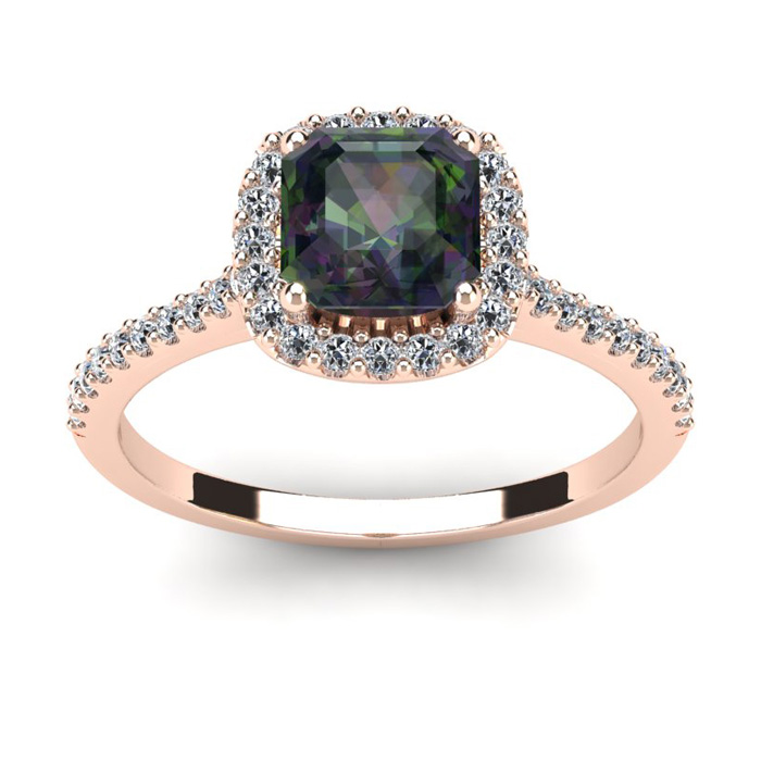 1.5 Carat Cushion Cut Mystic Topaz & Halo Diamond Ring in 14K Ros
