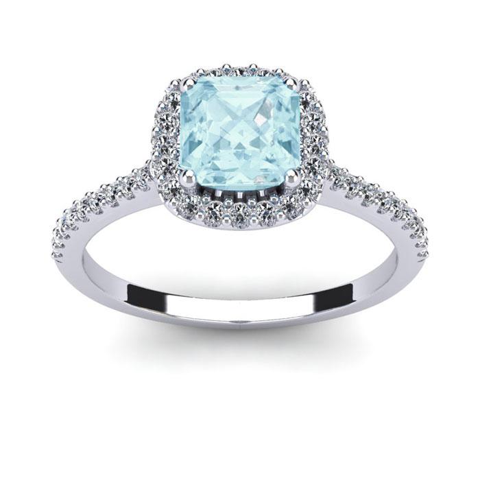 1 Carat Cushion Cut Aquamarine & Halo Diamond Ring in 14K White G