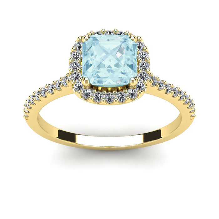 1 Carat Cushion Cut Aquamarine & Halo Diamond Ring in 14K Yellow Gold (3.6 g), I/J by SuperJeweler