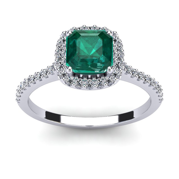 1.5 Carat Cushion Cut Created Emerald & Halo Diamond Ring in 14K White Gold (3.6 g), I/J by SuperJeweler