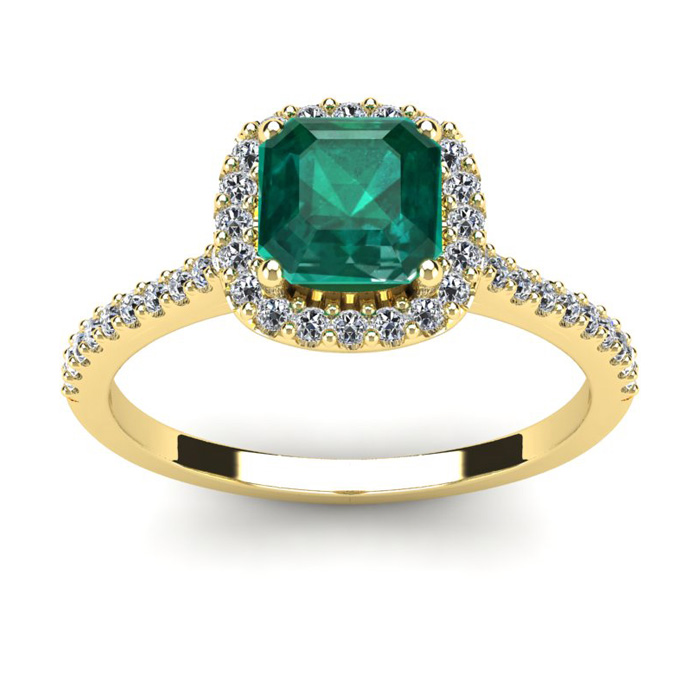 1 1/2 Carat Cushion Cut Created Emerald and Halo Diamond Ring In 14K Yellow Gold