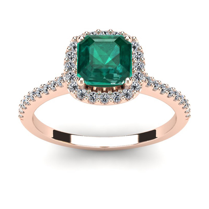 1 1/2 Carat Cushion Cut Created Emerald and Halo Diamond Ring In 14K Rose Gold