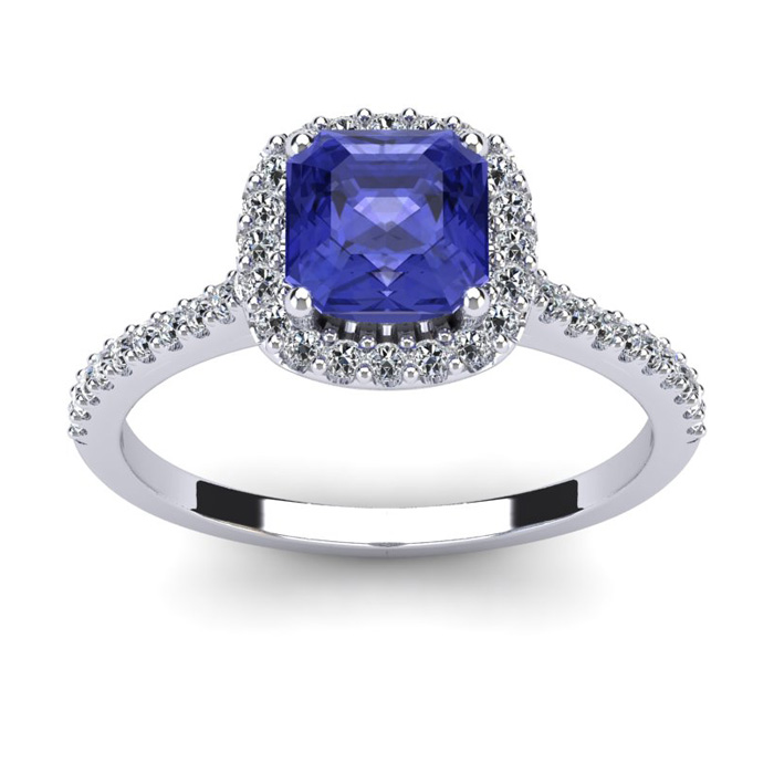 1 1/3 Carat Cushion Cut Tanzanite & Halo Diamond Ring in 14K Whit