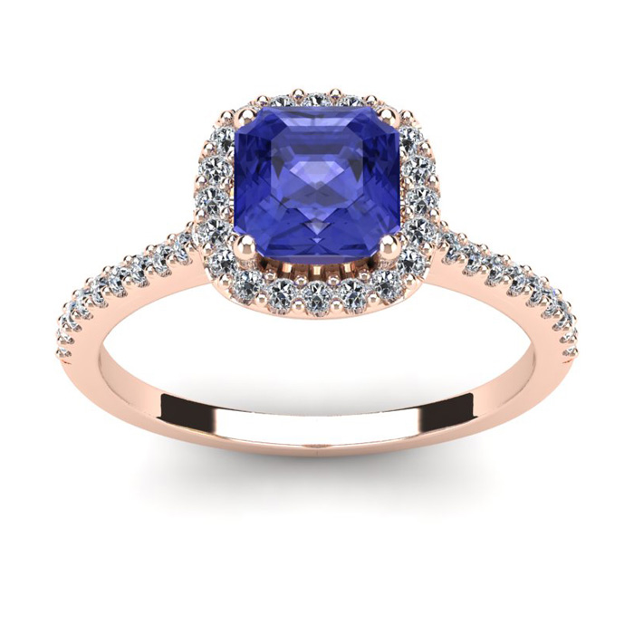 1 1/3 Carat Cushion Cut Tanzanite & Halo Diamond Ring in 14K Rose