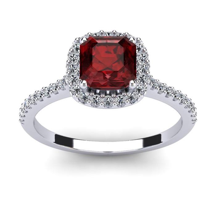 1.5 Carat Cushion Cut Garnet & Halo Diamond Ring in 14K White Gol