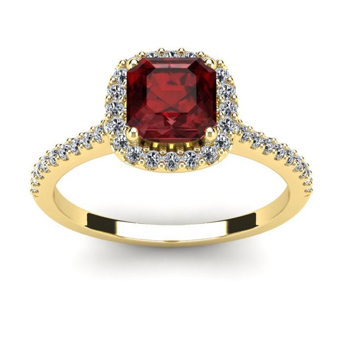 1.5 Carat Cushion Cut Garnet & Halo Diamond Ring in 14K Yellow Go