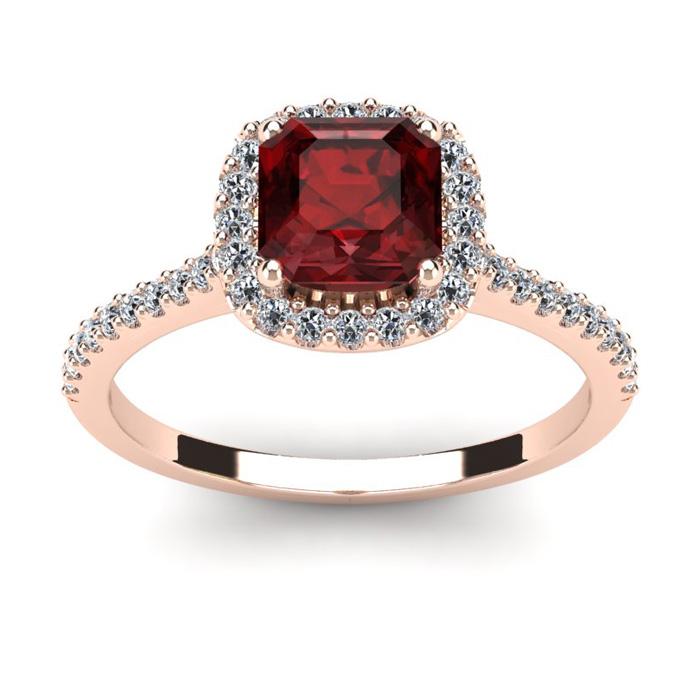 1.5 Carat Cushion Cut Garnet & Halo Diamond Ring in 14K Rose Gold (3.6 g), I/J by SuperJeweler