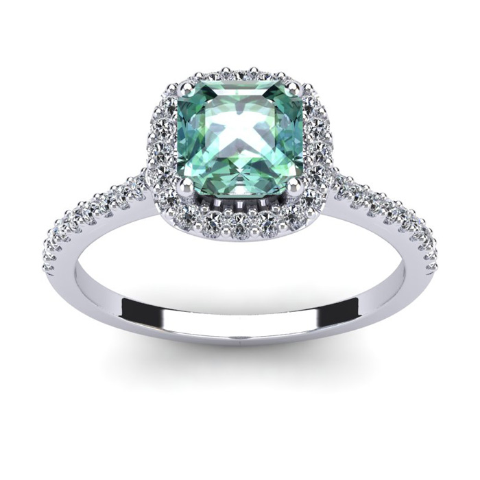 1 Carat Cushion Cut Green Amethyst and Halo Diamond Ring In 14K White Gold