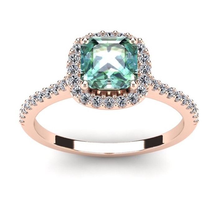 1 Carat Cushion Cut Green Amethyst & Halo Diamond Ring in 14K Ros