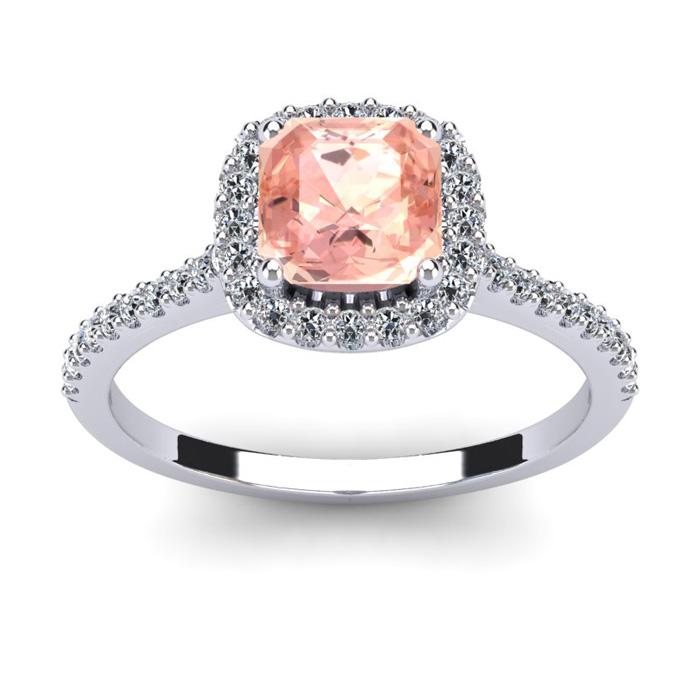 1 Carat Cushion Cut Morganite & Halo Diamond Ring in 14K White Go