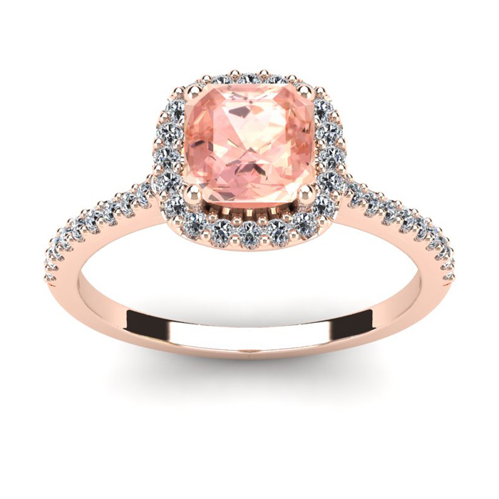 1 Carat Cushion Cut Morganite & Halo Diamond Ring in 14K Rose Gol