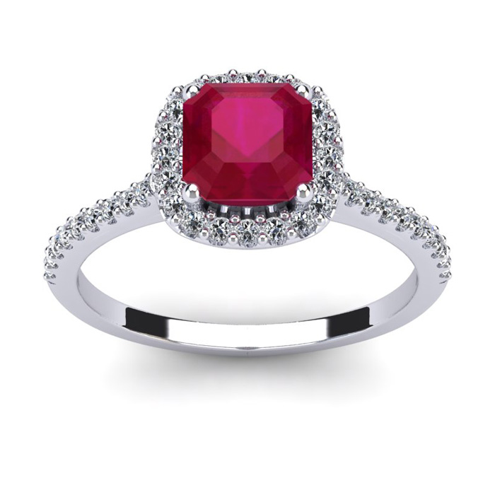 1 3/4 Carat Cushion Cut Ruby & Halo Diamond Ring in 14K White Gol
