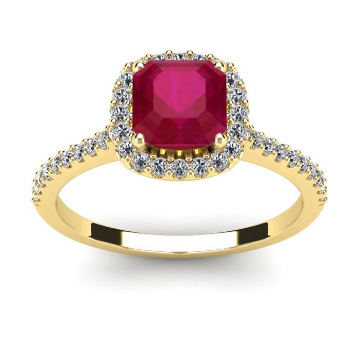1 3/4 Carat Cushion Cut Ruby & Halo Diamond Ring in 14K Yellow Go