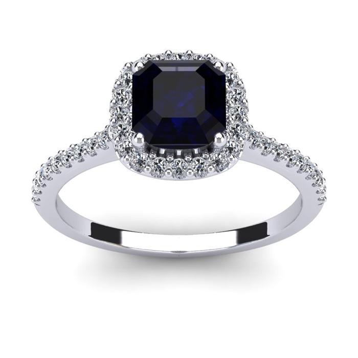 1.5 Carat Cushion Cut Sapphire & Halo Diamond Ring in 14K White Gold (3.6 g), I/J by SuperJeweler