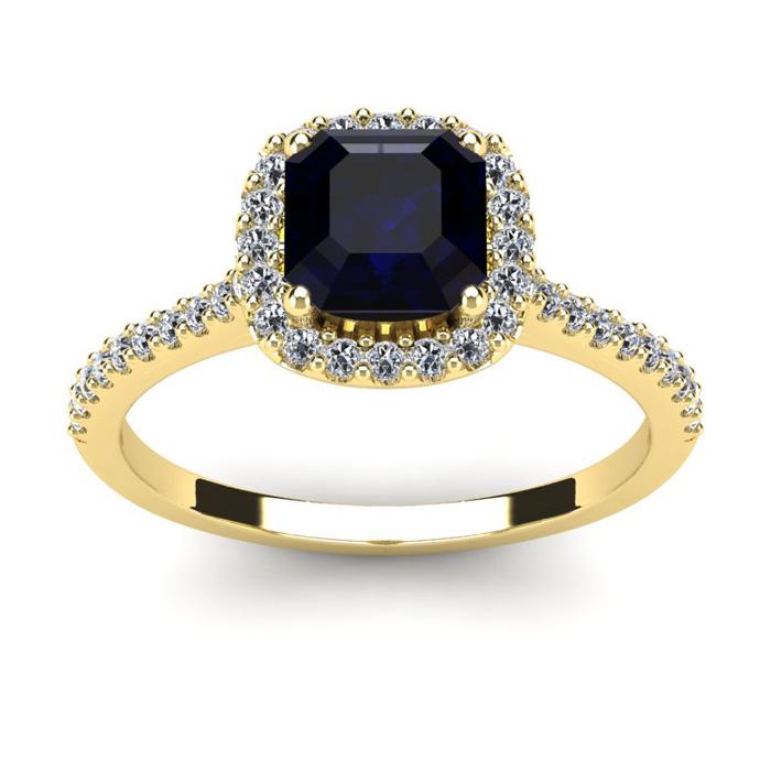 1.5 Carat Cushion Cut Sapphire & Halo Diamond Ring in 14K Yellow