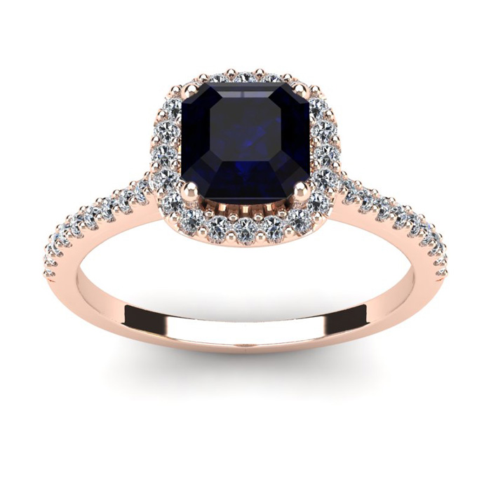 1.5 Carat Cushion Cut Sapphire & Halo Diamond Ring in 14K Rose Go