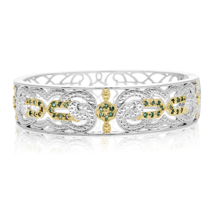 Two Tone Filigree 1 Carat Emerald Bangle Bracelet, 7 Inch by Supe