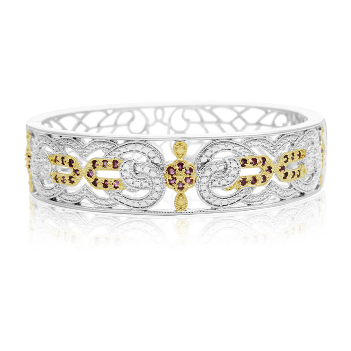 Two Tone Filigree 1 Carat Ruby Bangle Bracelet, 7 Inch by SuperJe
