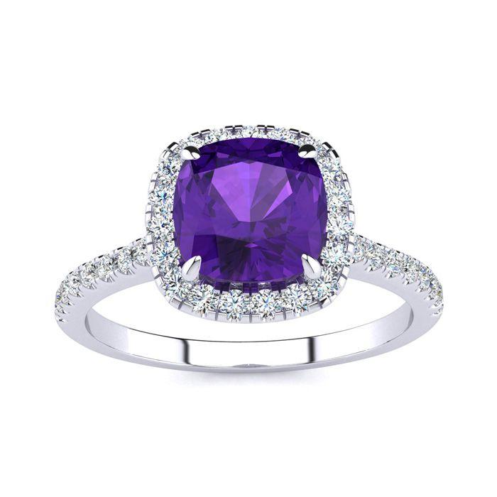 2 Carat Cushion Cut Amethyst & Halo Diamond Ring in 14K White Gold (3.9 g), I/J by SuperJeweler