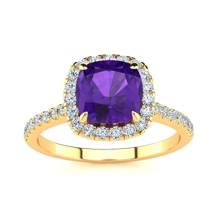 2 Carat Cushion Cut Amethyst & Halo Diamond Ring in 14K Yellow Gold (3.9 g), I/J by SuperJeweler