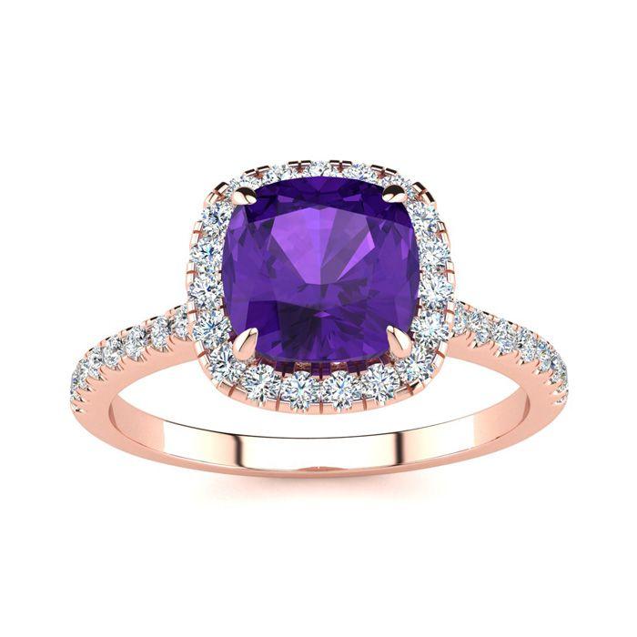 2 Carat Cushion Cut Amethyst & Halo Diamond Ring in 14K Rose Gold