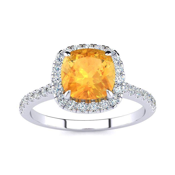 2 Carat Cushion Cut Citrine & Halo Diamond Ring in 14K White Gold