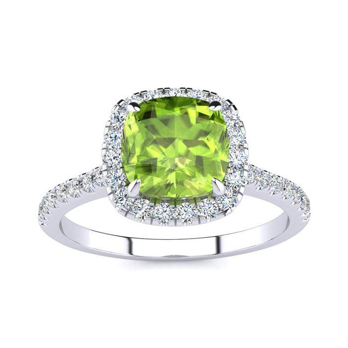 2 Carat Cushion Cut Peridot & Halo Diamond Ring in 14K White Gold