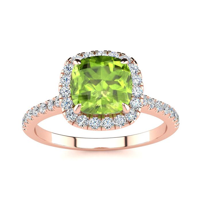 2 Carat Cushion Cut Peridot & Halo Diamond Ring in 14K Rose Gold