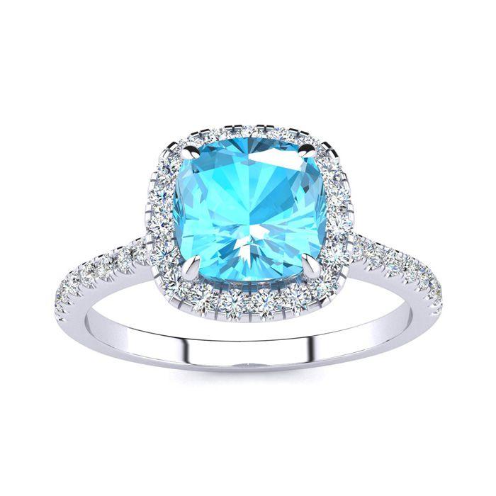 2 Carat Cushion Cut Blue Topaz & Halo Diamond Ring in 14K White G