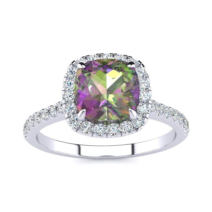 2 Carat Cushion Cut Mystic Topaz & Halo Diamond Ring in 14K White