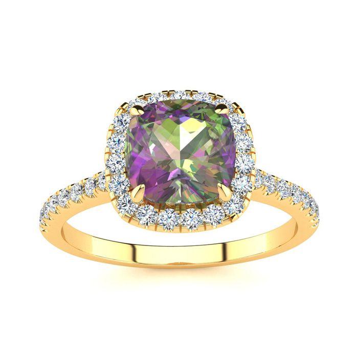 2 Carat Cushion Cut Mystic Topaz & Halo Diamond Ring in 14K Yello