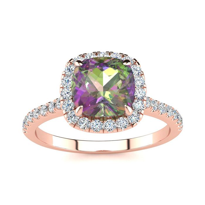 2 Carat Cushion Cut Mystic Topaz & Halo Diamond Ring in 14K Rose
