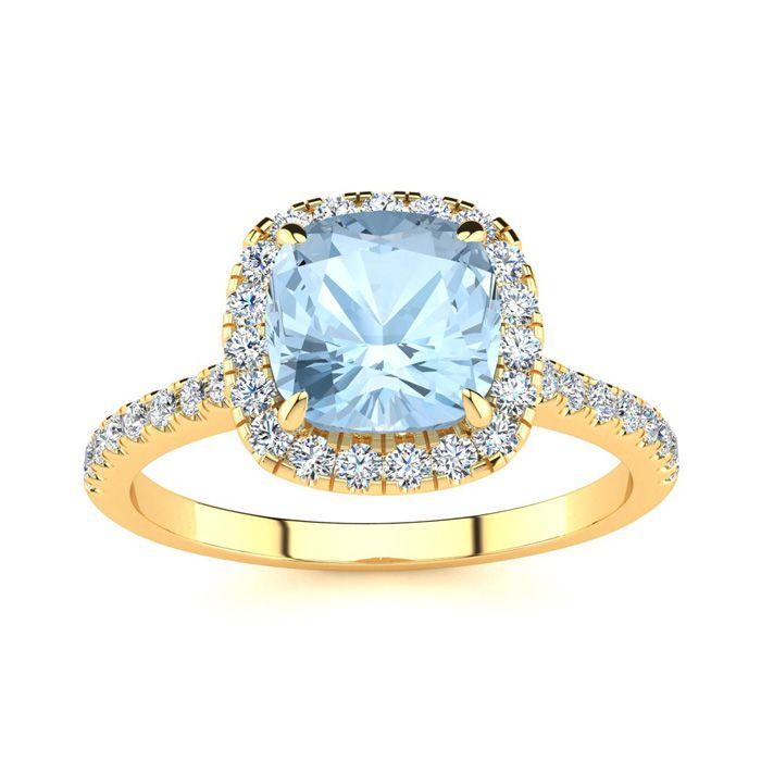 2 Carat Cushion Cut Aquamarine & Halo Diamond Ring in 14K Yellow Gold (3.9 g), I/J by SuperJeweler
