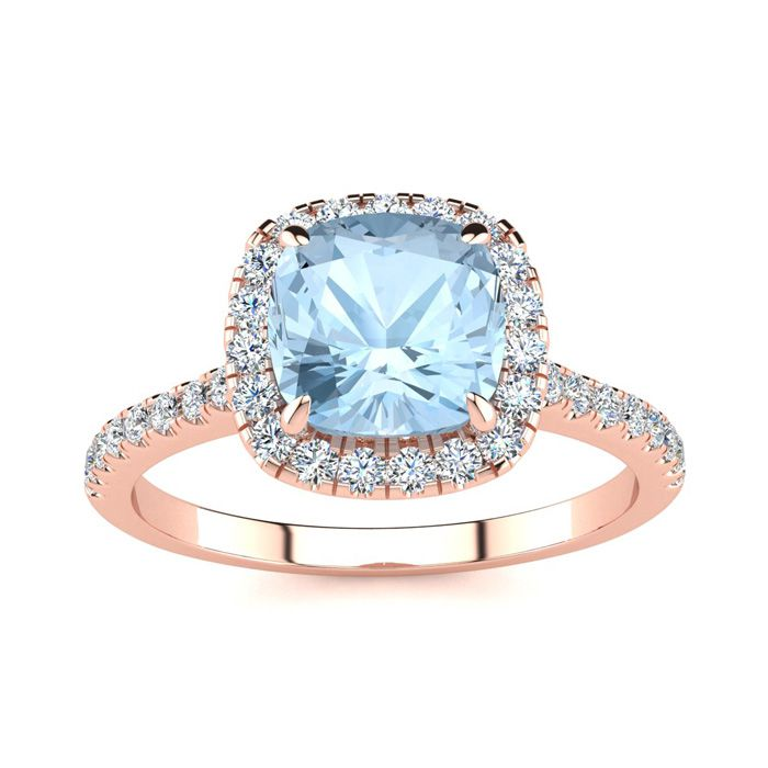 2 Carat Cushion Cut Aquamarine & Halo Diamond Ring in 14K Rose Go