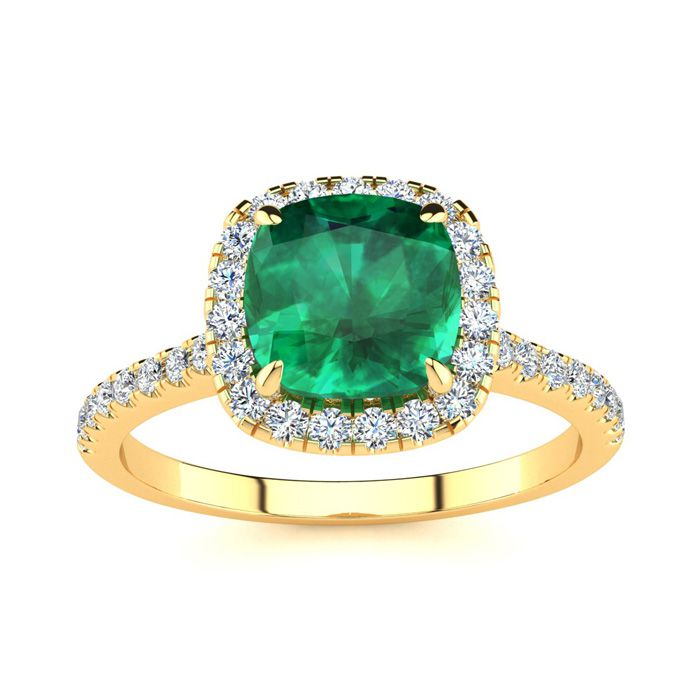 2 Carat Cushion Cut Emerald & Halo Diamond Ring in 14K Yellow Gol