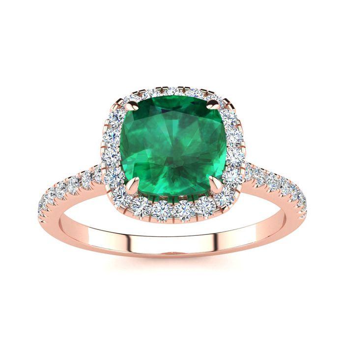 2 Carat Cushion Cut Emerald & Halo Diamond Ring in 14K Rose Gold
