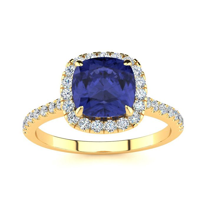 2 Carat Cushion Cut Tanzanite & Halo Diamond Ring in 14K Yellow G