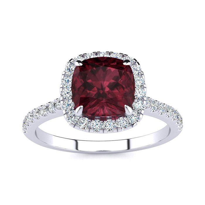 2 Carat Cushion Cut Garnet & Halo Diamond Ring in 14K White Gold