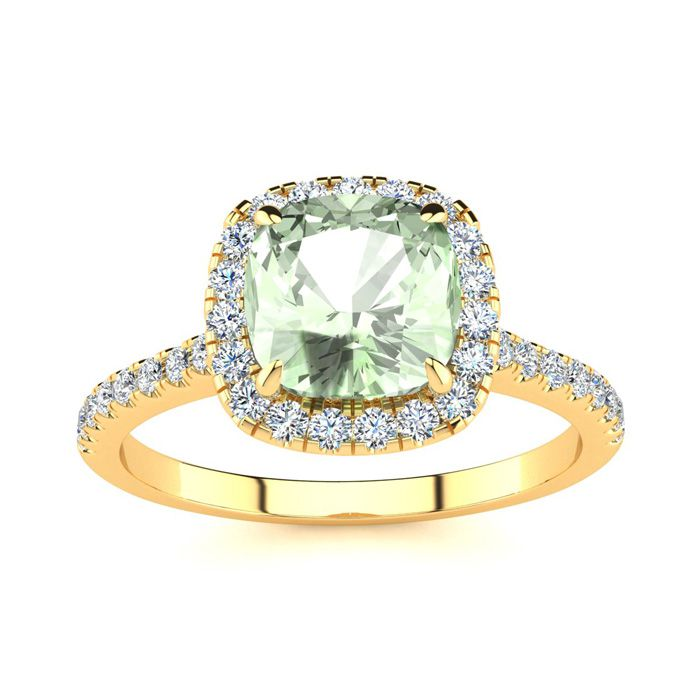 1 3/4 Carat Cushion Cut Green Amethyst & Halo Diamond Ring in 14K Yellow Gold (3.9 g), I/J by SuperJeweler