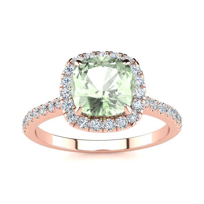 1 3/4 Carat Cushion Cut Green Amethyst & Halo Diamond Ring in 14K Rose Gold (3.9 g), I/J by SuperJeweler