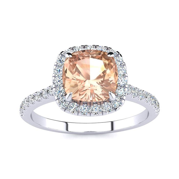 2 Carat Cushion Cut Morganite & Halo Diamond Ring in 14K White Gold (3.9 g), I/J by SuperJeweler