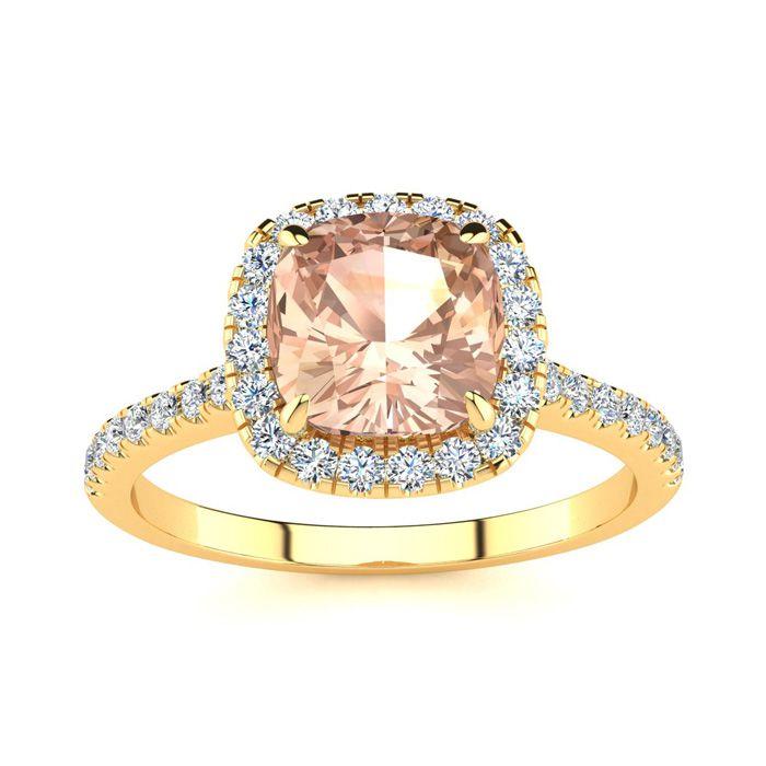 2 Carat Cushion Cut Morganite & Halo Diamond Ring in 14K Yellow G