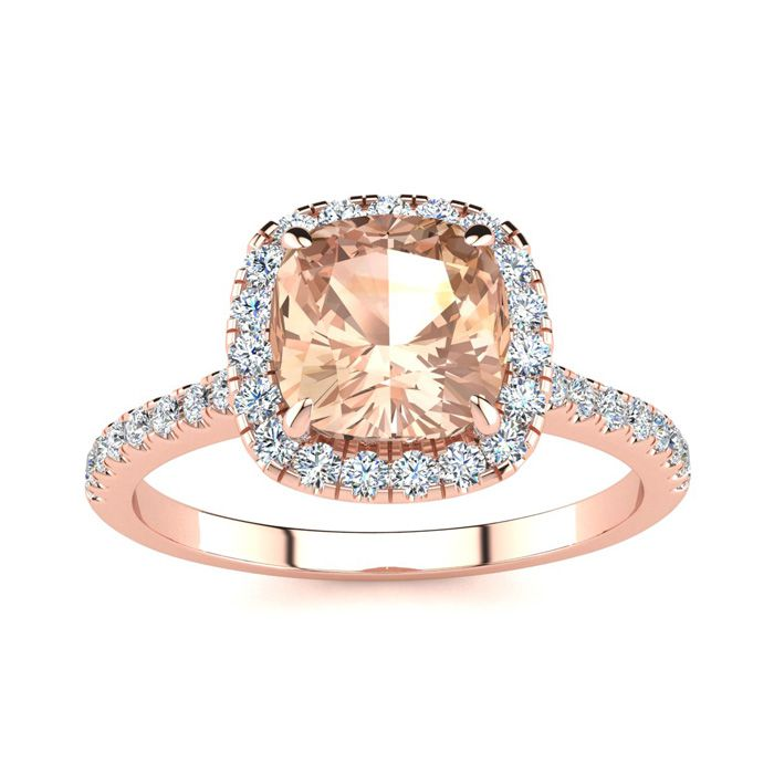 2 Carat Cushion Cut Morganite & Halo Diamond Ring in 14K Rose Gol