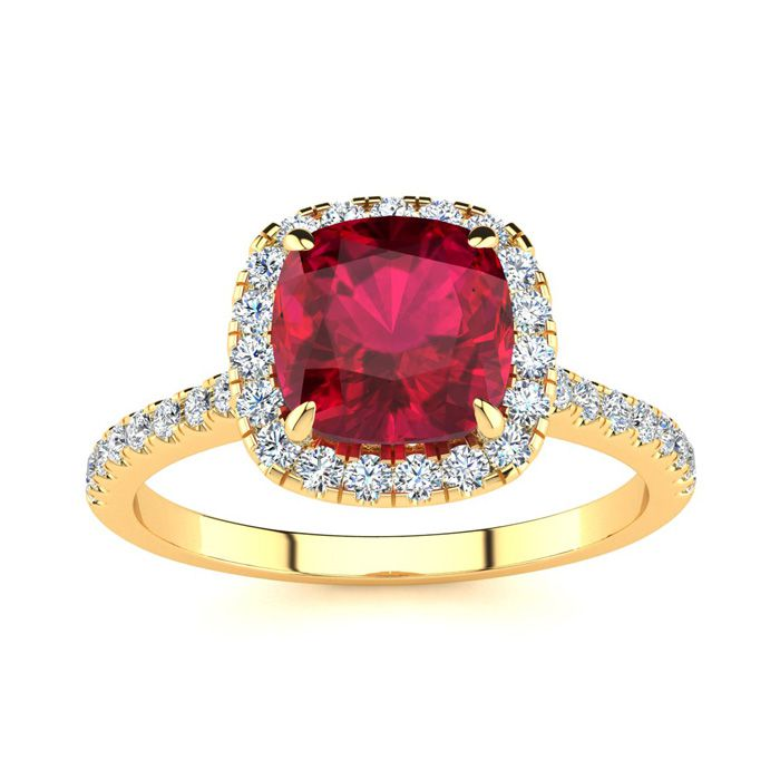 2 Carat Cushion Cut Ruby & Halo Diamond Ring in 14K Yellow Gold (