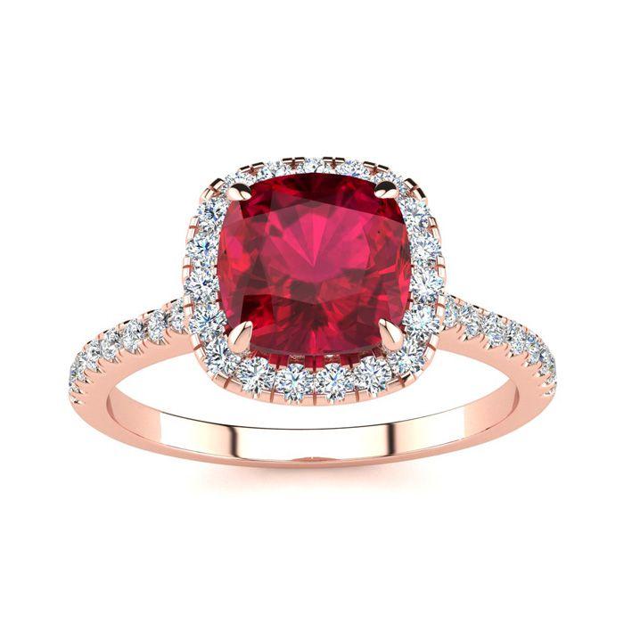 2 Carat Cushion Cut Ruby & Halo Diamond Ring in 14K Rose Gold (3.