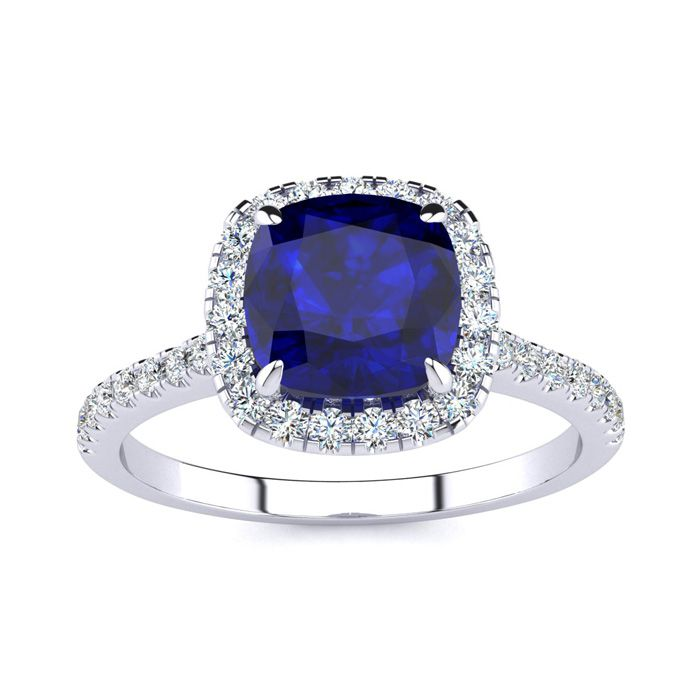 2 Carat Cushion Cut Sapphire & Halo Diamond Ring in 14K White Gold (3.9 g), I/J by SuperJeweler